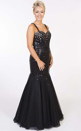 Strapped Sequined Mermaid Prom Gown With rhinestones