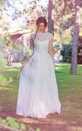 Bateau Short Sleeve Lace A-line Wedding Dress With Pleats And Deep-V Back