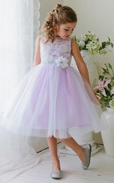 Bateau Tulle Lace Tea-length flower girl Dress With Embellished Waist