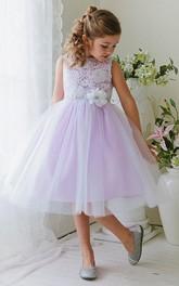 Bateau Tulle Lace Tea-length flower girl Dress With Embellished Waist