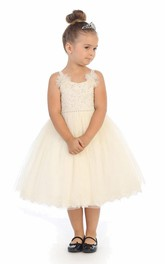 Tiered Corset Back Embroidered Tea-Length Lace Flower Girl Dress