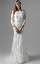Off-the-shoulder Lace Long Sleeve Dress With Appliques And Court Train