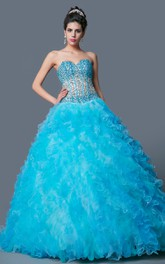 Sweetheart A-line Ball Gown Quinceanera Dress With Beading And cape