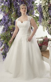 Cap-sleeve A-line Appliqued plus size wedding dress With Illusion And Sweep Train