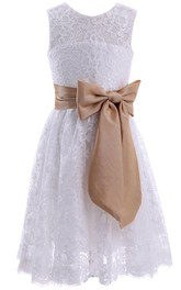 Jewel-Neck Sleeveless short Knee-length Lace Dress With bow