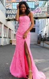 Mermaid Lace Sweetheart Sleeveless Floor-length Sweep Train Prom Dress With Split Front