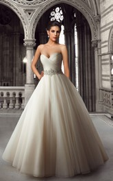 Sweetheart Criss-cross Ball Gown Wedding Dress With Jeweled Waist And Court Train