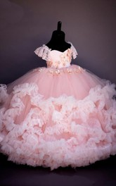 Ball Gown Sweetheart Cap-Sleeve Tier Flower Girl Dress