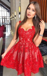 Sweetheart Straps Lace Tulle Sleeveless Short Homecoming Dress with Pleats