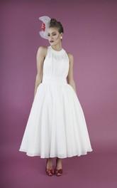 Chiffon A-line Vintage Jewelry Neckline Sleeveless Dress With Sash And Pleats