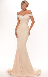 Mermaid Off-the-shoulder Floor-length Dress With Ruffled hemline