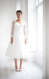 V-neck Illusion Long Sleeve Tea-length Wedding Dress With Appliques And Keyhole