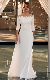 Sheath Off-the-shoulder Satin Floor-length 3/4 Length Sleeve Wedding Dress With Appliques