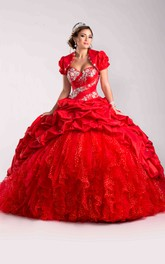Sequin-Covered A Matching Jacket Lace-Up Back Ball Gown