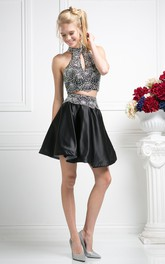 A-Line Jeweled Mini High-Neck Satin Sleeveless Dress