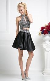 A-Line Jeweled Mini High-Neck Satin Sleeveless Dress