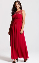 A-Line Bateaud Back Modest Scoop-Neck Gown