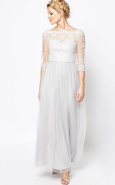 Bateau Illusion Half Sleeve Ankle-length Tulle Dress With Appliques