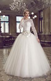 Slit-Front Floral-Slit Illusion Long-Sleeve A-Line Dress