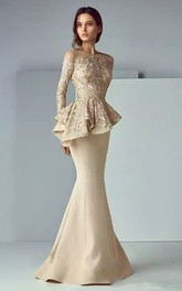 Mermaid Long Sleeve Floor-length Bateau Satin Lace Mother of the Bride Dress with Zipper Back