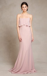 Spaghetti-strap Chiffon Sheath Bridesmaid Dress With Sweep Train