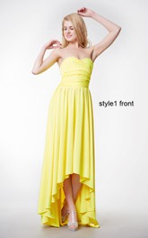 Sleeveless Ruffled Jersey Ruched Changeable A-Line Gown
