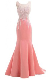 Mermaid Floor-length Scoop Sleeveless Satin Dress with Appliques