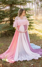 Off-the-shoulder Long Sleeve Lace Pleated Ruffled Maternity Dress