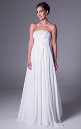 A-Line Empire Strapless Appliqued Chiffon Wedding Dress