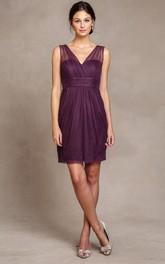 V-neck Sleeveless Chiffon Tulle short Bridesmaid Dress With Draping