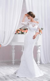 Off-the-shoulder Mermaid Sheath Lace Wedding Dress With Corset Back