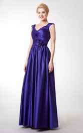 V-Neckline Pleated Cap-Sleeve A-Line Satin Gown
