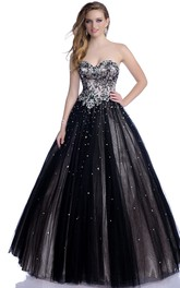 Sophisticated Formal Sequined Shining Rhinestones A-Line Tulle Sweetheart Dress