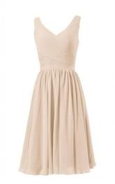 Short Crisscross Ruched V-Neckline Sleeveless Dress