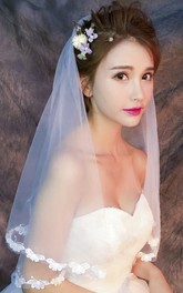 Short Elbow Wedding Veil with Flower Lace Edge
