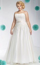Strapless A-line Satin Ball Gown With Appliques And bow