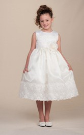Lace Sash Pleated Tea-Length Flower Girl Dress