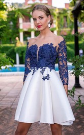 V-neck Satin Lace 3/4 Length Sleeve Short Homecoming Dress with Appliques and Pleats
