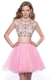 Cap-Sleeve Tulle Skirt Jeweled Top 2-Piece Mini Homecoming Dress