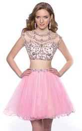 Cap-Sleeve Tulle Skirt Jeweled Top 2-Piece Mini Homecoming Dress