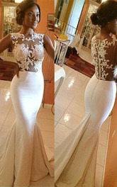 Trumpet Mermaid High Neck Satin Applique Sleeveless Sweep Brush Train Wedding Dresses