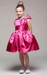 Bowknot Sleeveless Midi-Length Satin Flower Girl Dress