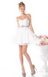 A-Line Waist Jeweler Appliqued Sweetheart Tulle Backless Satin Dress