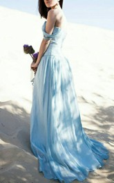 boho Off-the-shoulder Pleated long Dress With Sweep Train