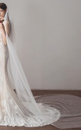 Simple Style White Tulle Cathedral Bridal Veil
