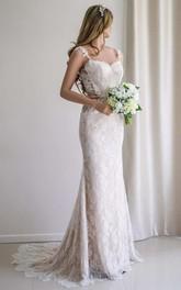 Illusion Sleeve Satin Lace Backless Wedding Dress