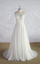 A-Line Lace Bodice Sleeveless Scoop-Neckline Wedding Dress