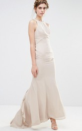Ankle-Length Sheath Jewel Neck Sleeveless Cascading-Ruffled Chiffon Bridesmaid Dress