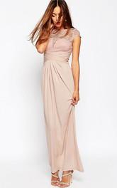 Pencil Ankle-length Bateau Chiffon Dress With Lace