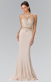 Column Crystal Scoop-Neck Sleeveless Illusion Jersey Dress